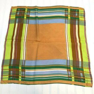 "Vintage Hand Printed Plaid Scarf 23"" x 23"" Made in"